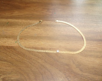 vintage necklace goldtone  chain prong set rhinestone