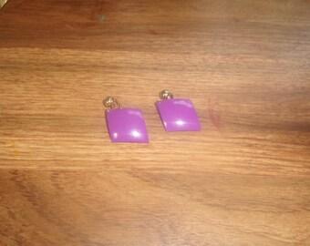 vintage clip on earrings purple metal