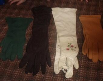 4 pairs vintage ladies hand gloves wrist elbow