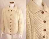 Vintage 60s 70s - Ivory Cream - Wool - Button Up - Cable Knit - Cardigan Sweater - Wood Buttons - Fisherman