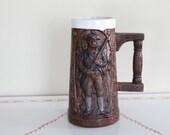 1970 Minute Man, Stein, War, Beer, Glass, Ceramic, Drinkware, Kitche, Man, Wood design, Handmade, Cup, Soldier, Gun, Decor, Bar, Holder, Art