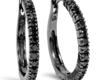 Black Diamond Hoops 10K Black Gold 1/2CT Black Diamond Hoops 10K Black Gold