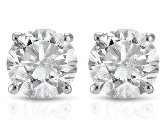 1/5CT Round Brilliant Cut Natural Diamond Stud Earrings In 14K Gold