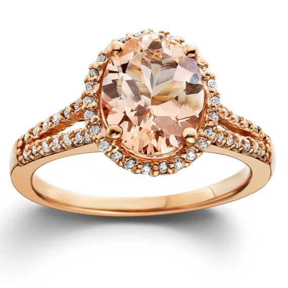 3.00CT Morganite & Diamond Engagement Ring 14K Rose Gold Halo Split Shank Size 4-9