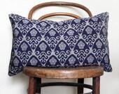 Indigo and Grey Ikat Decorative Pillow.