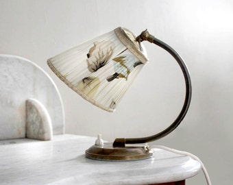 Vintage 1950s Lamp. Small Bedside Lamp, Metal Base, White and Pastel Floral Motif.