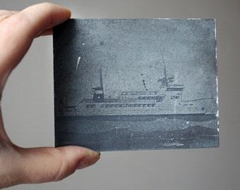 Vintage Ship Letterpress Stamp. Metal photograph printing block. Boat / Ship / Yacht. Craft supply for scrapbooking.