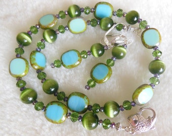 Green and Turquoise glass set Necklace and earrings S741