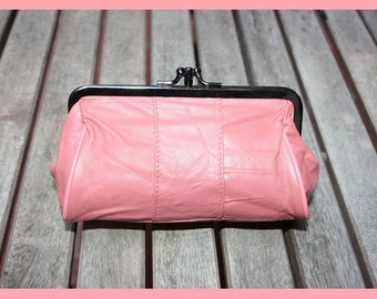 Retro leather purse, leather wallet, PINK clutch, leather make up bag in PINK, romantic leather purse.