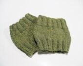 Alpaca boot cuffs moss green hand knitted