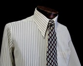"70s 15"" Towncraft Penn Prest Pinstripe Nylon Knit Big Collar Shirt White Charcoal Gray Devonian Tie"