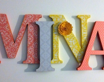 wooden letters for nursery in coral, gray and yellow