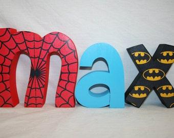 Super hero, Super hero party, Nursery letters, 3 letter set, Nursery sign, Nursery decor, Kids room decor, Name letters, Wooden letters