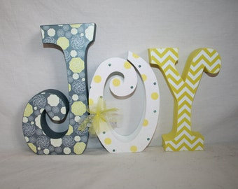 Custom wood letters, Gray and yellow,  3 letter set, Teen room decor, Hanging letters, Girls room decor, Nursery wall letters, Name sign