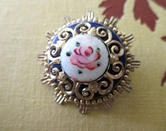 vintage Coro enameled guilloche pin - gold, pink