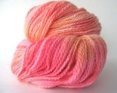 SALE: Local NY Hand Dyed Yarn SHERBET Cormo, Alpaca and Silk dk Weight Pink, Orange