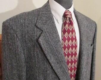Vintage Harris Tweed Multi Colored MensTweed Jacket Colors Blue Black Grey Size 46 Regular No Tag Color See Pics