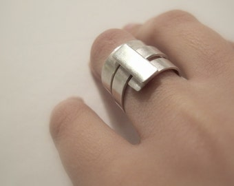 Silver Wide Band Ring ,  geometric, modern, cool, everyday ring, gift for her