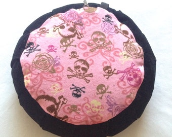 Gothic Girly Zafu Meditation Pillow, Skulls, Roses, Pink and Black, sparkles, yoga,