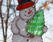 Christmas Holiday Stained Glass Suncatcher - Winter Icy Snowman with Christmas Tree