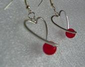 Valentine's Day Heart Earrings red heart earrings silver earrings prom earrings bride earrings red earrings mothers day gift silver heart ea