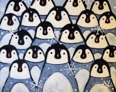 Penguin Mini Canvas with Easel -  Hand Painted Folk Art Holiday Christmas Gift Housewarming Gift Cute Penguins Huddled Together Desktop Art