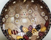 Primitive Folk Art Painting Easter Wood Bowl,  Baby Bunnies Hunting Easter Eggs, Rustic Spring Home Decor, Rabbits, MADE TO ORDER