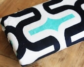 Personalized Stroller Blanket Double Sided Minky Cuddle - Racetrack with Turquoise