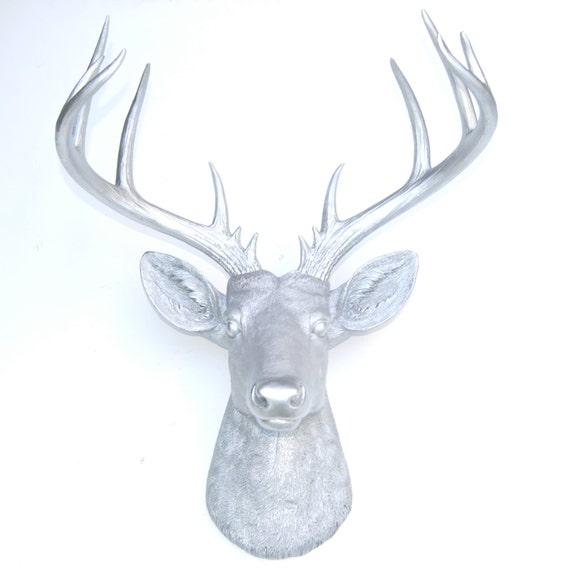 Large Deer Head Silver Deer Head Wall Mount 14 Point Stag