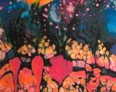 Garden in Moonlight  -  a Harvest  - small art fabric -  Quilting -  from original batik painting