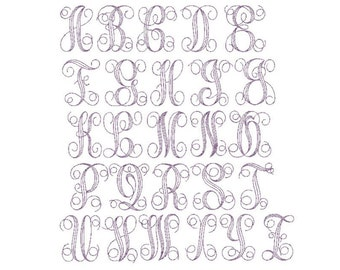 Floss Stitch Monogram font PES only 3,4 and 5 Inch