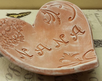 Handmade Pottery Mother's Day Rustic Heart Dish for Nana