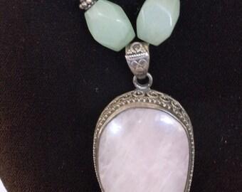 Vintage Sterling Silver Rose Quartz and Jade Necklace