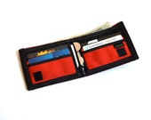 Chain Wallet with Coin Pocket  - Oxblood and Red Seatbelt Wallet - Vegan Velcro Wallet with Grommet