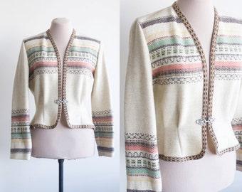 50s Norwegian cardigan / Scandinavian wool cardigan / vintage ski winter cardigan / nordic 50s cardigan / Norwegian sweater / medium - large