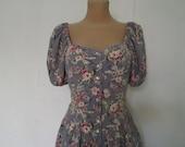 Buttoned Long  Dress Vintage / Maxi / Size EUR42 / UK14 / Side Pockets