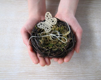 Ring Bearer nest pillow bird nest ring bearer, bird nest ring pillow