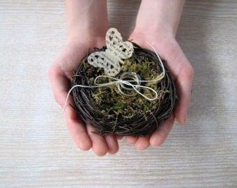 Ring Bearer nest pillow bird nest ring bearer, bird nest ring pillow