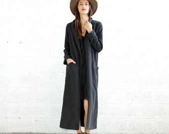 Summer Sale SALE!Maxi Coat- long black coat-black