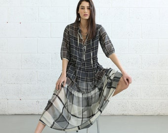 SALE!Sheer Plaids Maxi dress