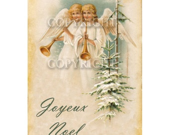 Instant Download, Angels, Joyeux Noel, French Download, Christmas, Christmas Greeting, Digital Download