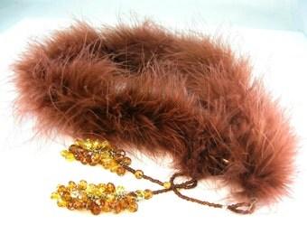 Marabou Feather Boa. Aurora Borealis Topaz Beaded Lariat. Scarf Wrap. Vintage Burlesque Steampunk Accessory.