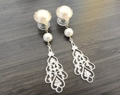 Wedding Gauges 00g 10mm Dangle Plugs Bridal Gauges Pearl Silver Filigree Plugs, Dangly Plugs 00 gauge