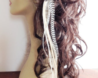 Bohemian Hair Clip Feather Extension Weft Snap In, Long Thick Feathers, Blonde, Cream, Grizzly Hippie Hair Accessories