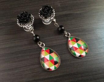 Teardrop Dangle Plugs 2g 4g 6g Ear Plugs, Black Rose Dangly Gauged Earrings Modern Color Block Tear drop Plugs, Stretched Ear Piercings