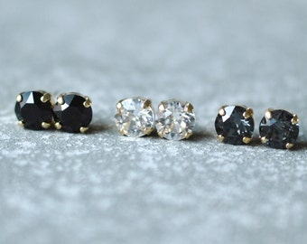 Industrial Chic Earring Set Diamond Studs Swarovksi Crystal 8mm Set of Three Earrings Silver Night Jet Black Gothic Art Deco Earrings Trendy