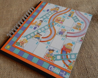 Recycled Chutes and Ladders guest book, notebook or scrapbook, large sized board game book with card stock pages