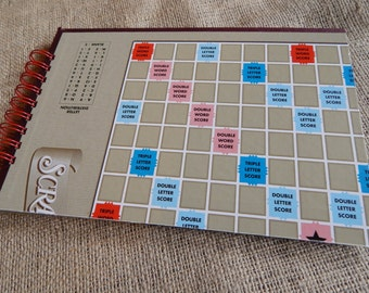 Recycled Scrabble guest book, notebook, or scrapbook, large sized board game book with card stock pages