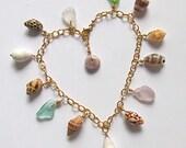 Hawaiian Shell Charm Bracelet, Gold Chain, Colorful Sea Glass, Hawaii Beach Jewelry, Maui Shells, Handmade, Mermaid Accessory, One of a Kind