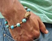 Men's Spiritual Protection, Serenity, Balance Bracelet with Semi Precious Imperial Jasper, Tiger's Eye, Carved Jade Tibetan Buddha, Copper